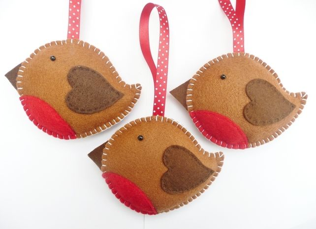 Christmas felt crafts | x3 Rockin' Robin Felt Christmas Decorations