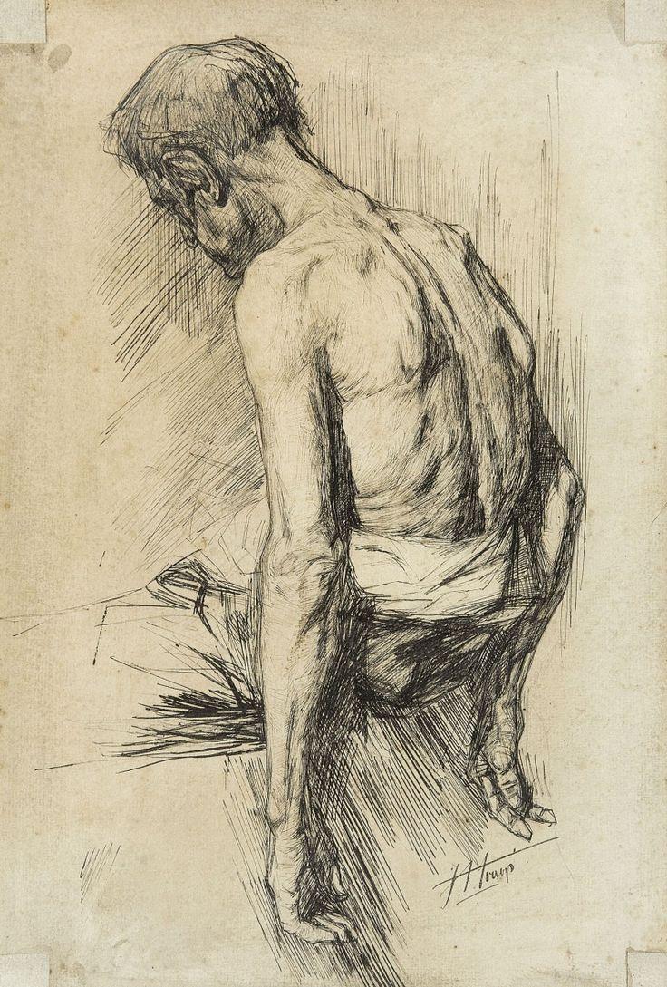 blastedheath: Jan Toorop (Dutch, 1858-1928), Study of a man. Pen drawing, 44 x 29.5 cm.