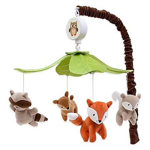 Transform your nursery into a forest full of animal friends with the Woodland Tales Bedding Collection from Lambs & Ivy. This sweet Musical Mobile features a quartet of woodland creatures, and plays Brahms' Lullaby.