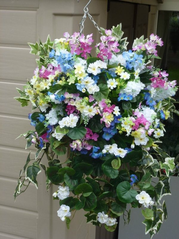 Pictures Of Large Hanging Flower Baskets : Best images about artificial flower hanging baskets on