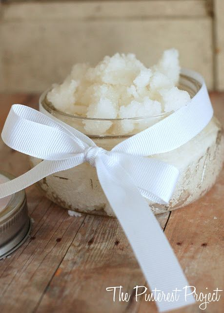 You'll need sugar and coconut oil. And maybe a pretty little jar to store it in! Take 1 cup of white sugar and mix in 1/4 c. coconut oil in a bowl. It will take a few minutes for the sugar and oil to completely combine. Be patient and mix thoroughly with the back of a spoon.