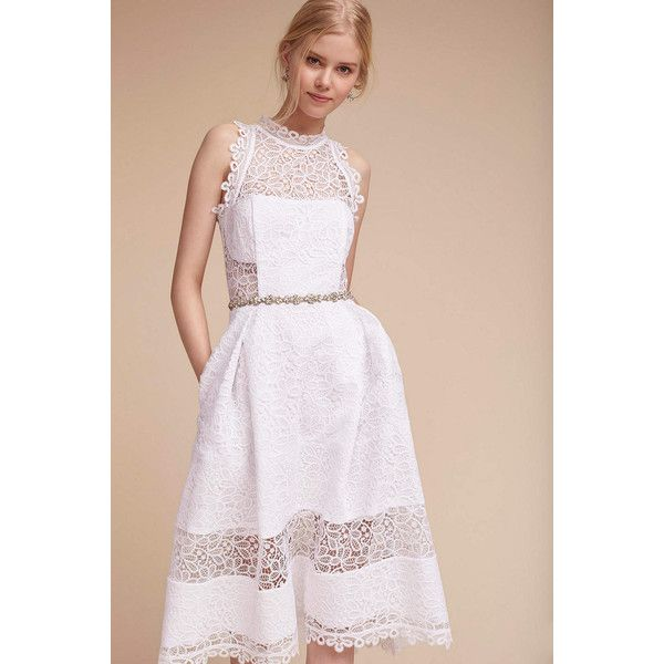 Anthropologie Marita Wedding Guest Dress ($400) ❤ liked on Polyvore featuring dresses, white, high neck white dress, bohemian lace dress, see-through dresses, white floral dress and white boho dress