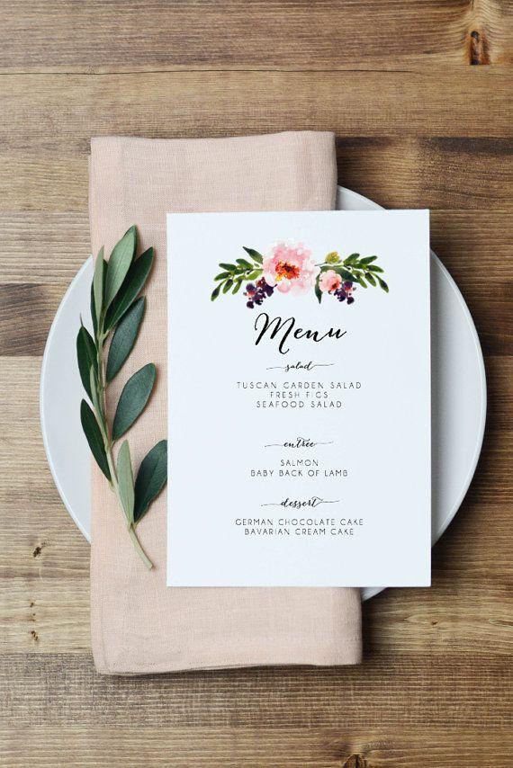 picture regarding Printable Menu Cards referred to as Floral Printable Menu Card - Watercolor Peony Marriage ceremony Menu