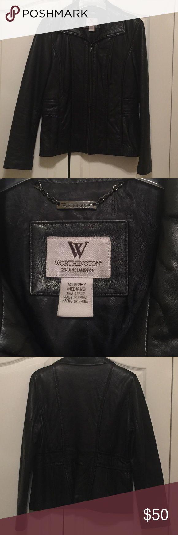 "Worthington ""genuine lambskin leather"" Jacket Worthington ""genuine lambskin leather"" Jacket.  Black size medium. Leather is soft and in mint condition Worthington Jackets & Coats Blazers"