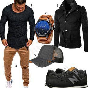 Street-Outfit in Schwarz und anthrazitem Shirt (m0638