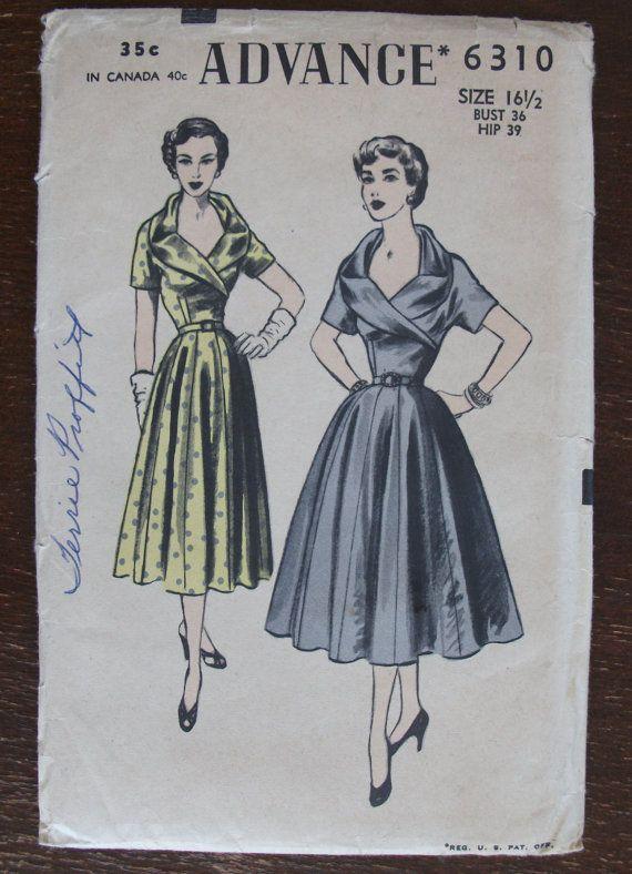 Advance 6310: Dress Patterns, Vint Patterns, 1950S, Patterns Recognition, Vintage Patterns, Patterns Envy, Dresses Patterns, Sewing Patterns