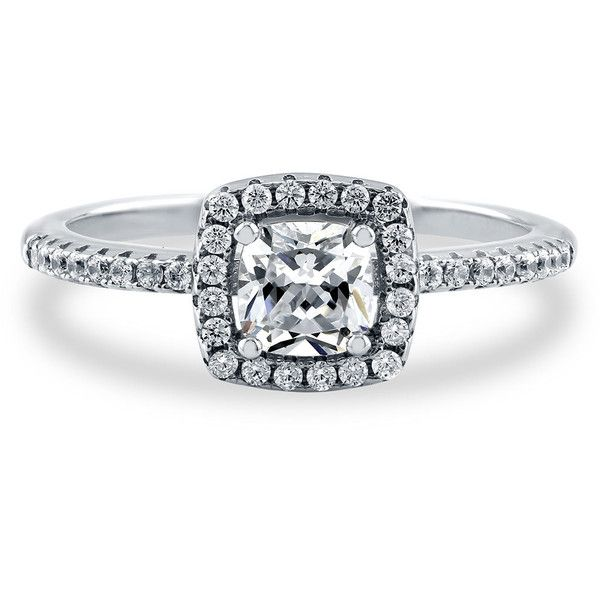 BERRICLE Sterling Silver 0.64 ct.tw Cushion CZ Halo Promise Wedding... ($29) ❤ liked on Polyvore featuring jewelry, rings, clear, sterling silver, women's accessories, sterling silver jewelry, cubic zirconia rings, anniversary rings, band rings and round cut engagement rings