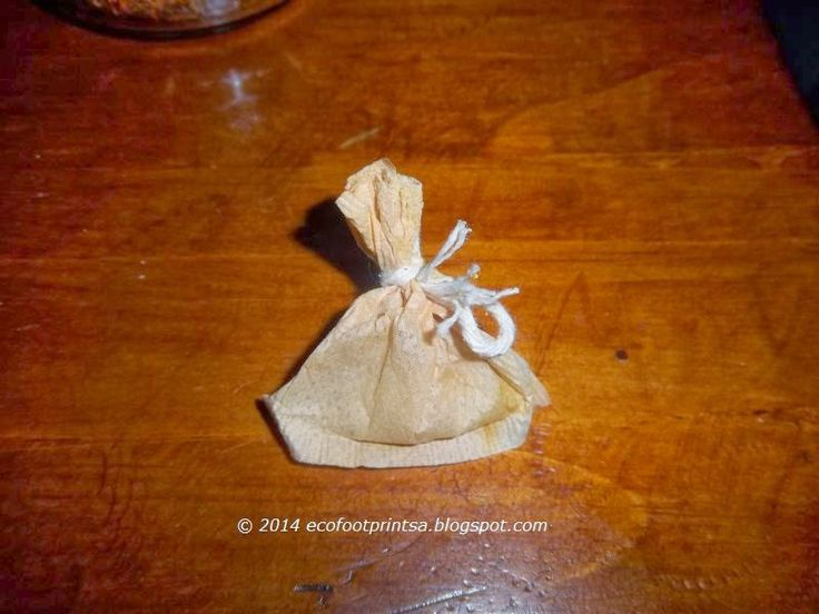 Eco Footprint ~ South Africa: Preserving and recycling.  Using a rice filled teabag as a moisture absorber