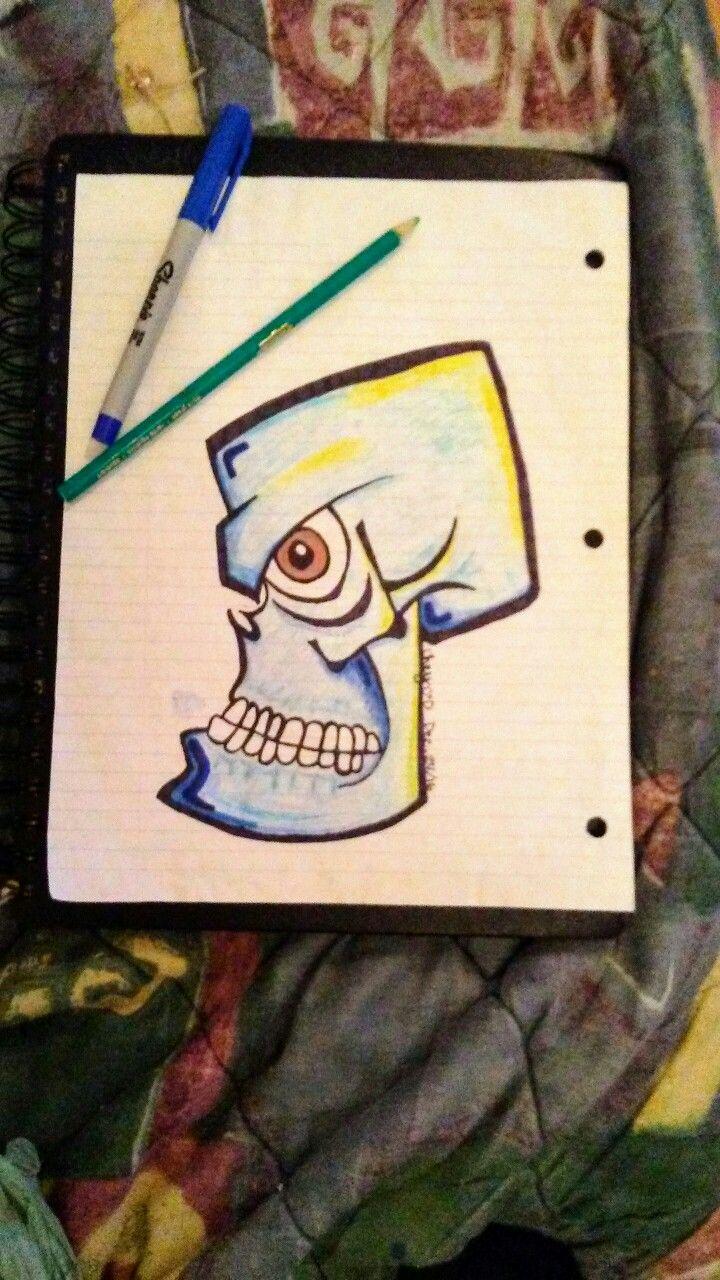 Shaded Blue Skull 💀💯