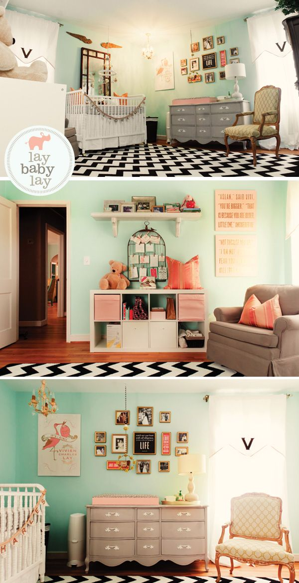 """Changing table on antique dresser. Modern nursery for a girl.  Wall color: """"aqua glow"""" from Valspar. What is the deal with the flags! Hello, no ribbons or bows longer than 12 inches, lol. So in love with this"""