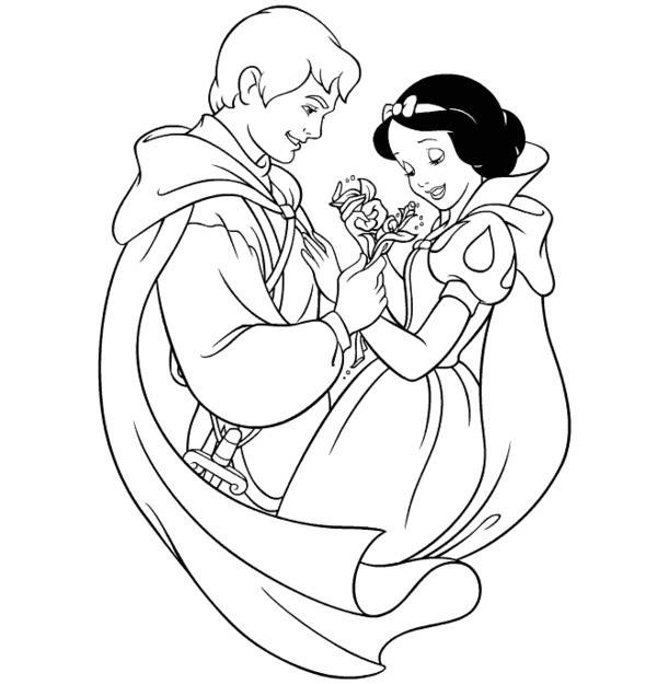 Princess Snow White And Prince In Love Disney Coloring Page
