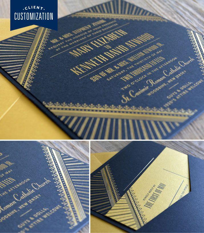Dauphine Press Client Customization Art Deco InvitationsInvitation