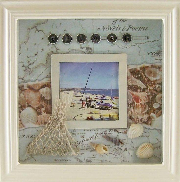 Photo Frame 20cm x 20cm SHADOW BOX BEACH Theme NEW - vacation photos matched to theme