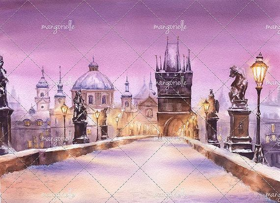 Quiet winter evening at the Charles Bridge in Prague, Czech Republic. Just snow and glowing lights of the bridge...:) I wanted to represent a dreamy moment when twilight descend on the city, its very quiet outside and heres a feeling that time stops :) #prague #czechrepublic #watercolor #watercolorart #painting #watercolorpainting #evening #snow #winter #charlesbridge