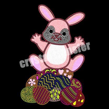 Easter Eggs Bunny Rhinestone Transfer Designs Heat Press