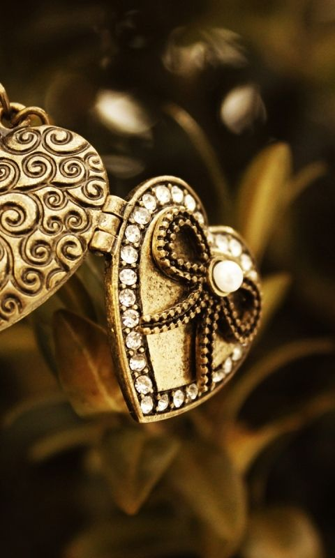 Download Wallpaper 480x800 Pendant, Macro, Metal, Heart, Bead HTC, Samsung Galaxy S2/2, Ace 480x800 HD Background