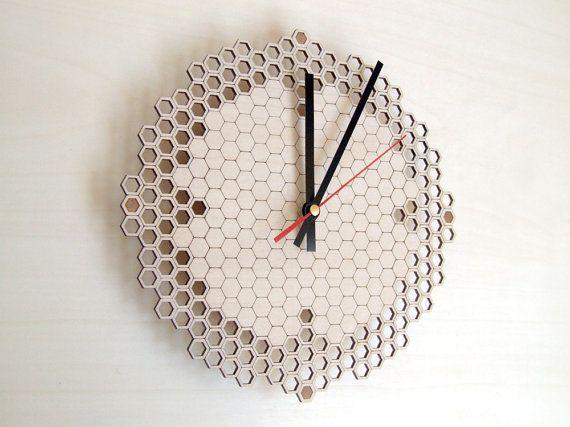Honeycomb clock Regular  wooden wall clock  by AsymmetreeDesign, €79.00