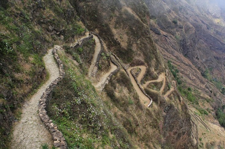 "This looks like a challenge - I think I would prefer walking this trail rather than biking. Lose your brakes and you end up taking a bumpy ride down. ""Hiking or Biking to Cova De Paul, Ribiera Grande, Cape Verde"""