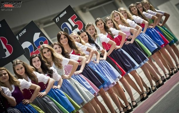 A great thing about the Austrian Formula  Grand Prix Grid Girls wearing traditional garb rather than outfits with sponsorship logos
