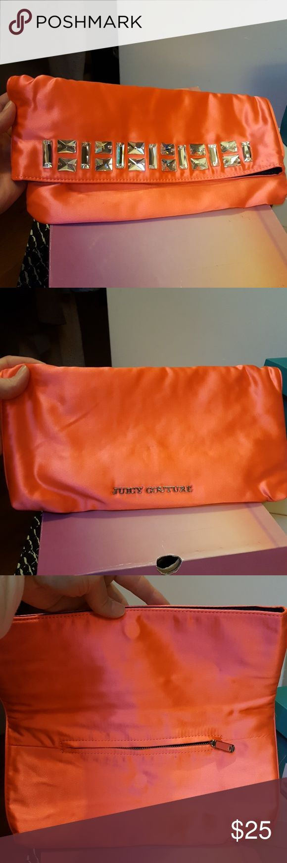Purse This Juicy Couture metallic orange clutch has a magnetic close and is great statement piece. Never been used. Bought for a party that was cancelled :-\ Juicy Couture Bags Clutches & Wristlets