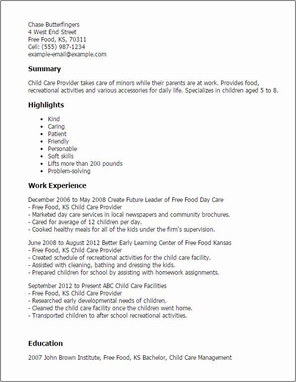 Child Care Job Description Resume Awesome Child Care Provider Resume Template Best Design Tips Sample Resume Care Jobs Acting Resume