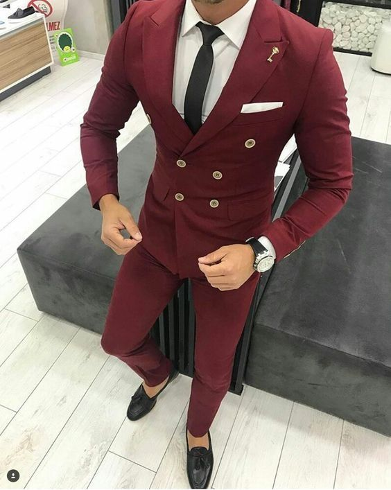Latest Coat Pant Designs Burgundy Men Suit Double Breasted Jacket