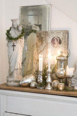 Mercury glass display. Villa Huvudsta Inredning: Mitt julhem i Hem och Antik