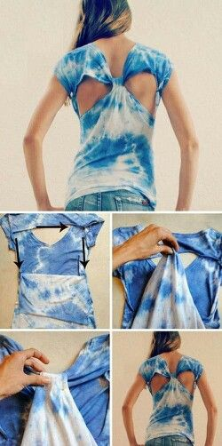 DIY Bleached shirt with Cutout back