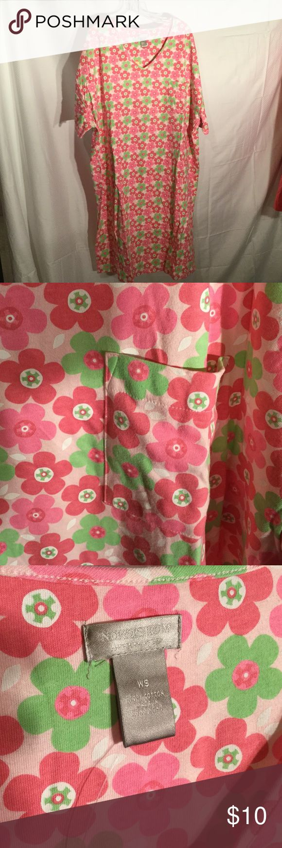 Nordstrom ladies nightgown plus size Ladies hot pink ,baby pink and light green nightgown has short sleeves and a left front patch pocket . Super cute floral print NWT size is a woman's one size but I would place it at a generous 2x ...perhaps a 3x roomy design Nordstrom Intimates & Sleepwear Pajamas