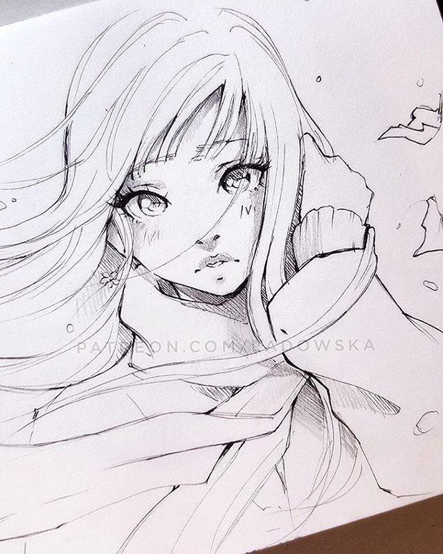Drawing manga portrait