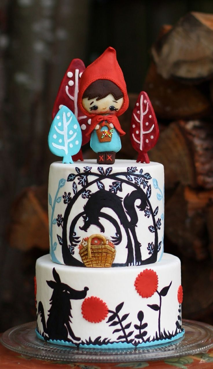 -  Over the hill and through the woods, to grandmothers house we go! Little red riding hood inspired cake. KO's Cakes