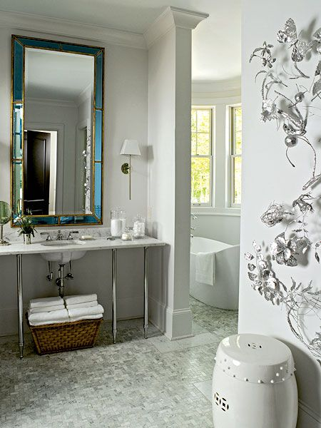 Contemporary Bathroom Design With Gray Walls Paint Color