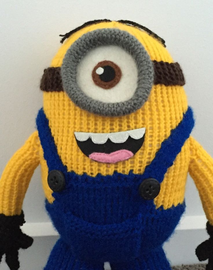 A personal favourite from my Etsy shop https://www.etsy.com/au/listing/246770151/stuart-the-minion-knitting-pattern-pdf