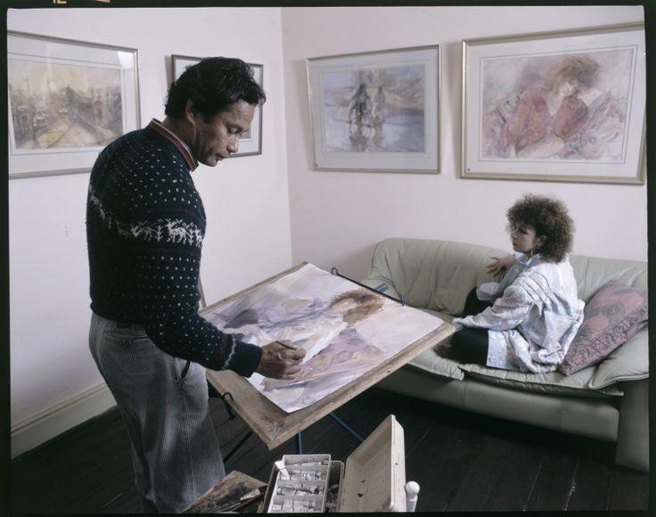 216413PD: Artist Ian de Souza at work, c1987.  http://encore.slwa.wa.gov.au/iii/encore/record/C__Rb2436522__S216391PD__Orightresult__U__X3?lang=eng&suite=def