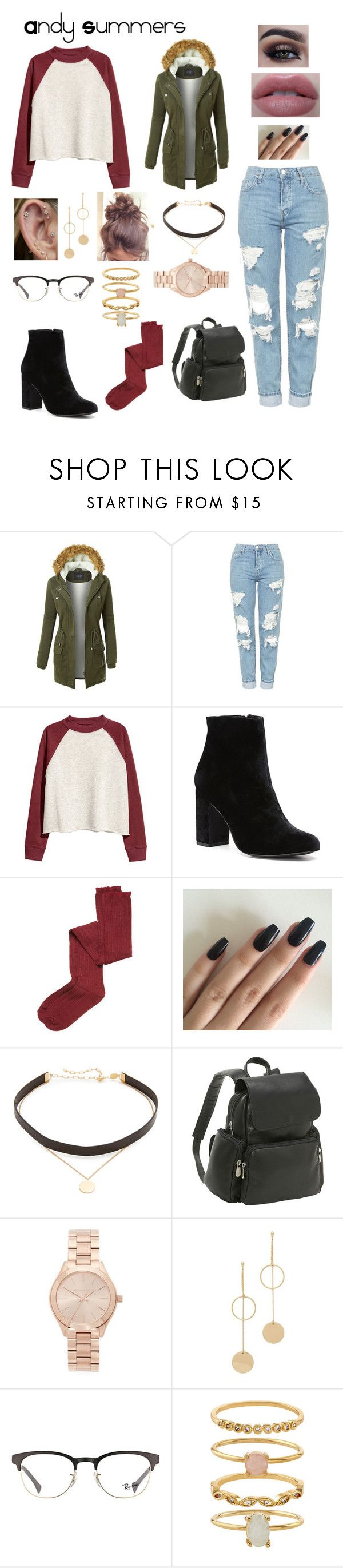 """""""Andy Summers"""" by gissell-nunez ❤ liked on Polyvore featuring LE3NO, Topshop, Witchery, Intimately Free People, Jennifer Zeuner, Le Donne, Michael Kors, Cloverpost, Ray-Ban and Accessorize"""