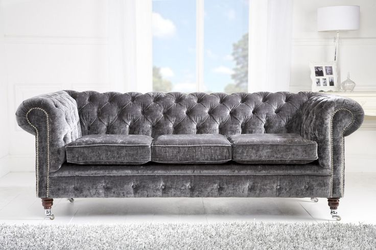 crushed velvet silver 3st chesterfield sofa ,  hand made chesterfield sofa