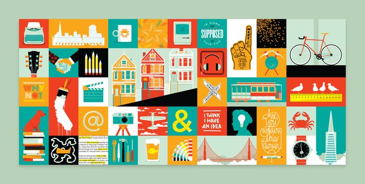 VISIT WEWORK  32'x 14' & 7' x 14'mural illustration + design for WeWork, San Francisco.  Creative Director:Devin Vermeulen.