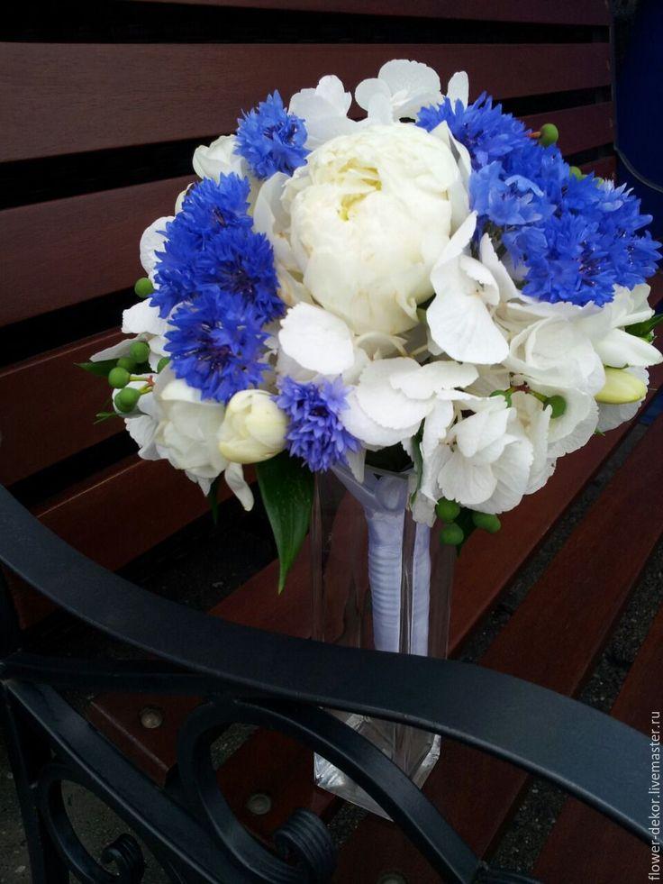 Купить Букет невесты с гортензией и васильками. - тёмно-синий, белый, синий, синяя свадьба