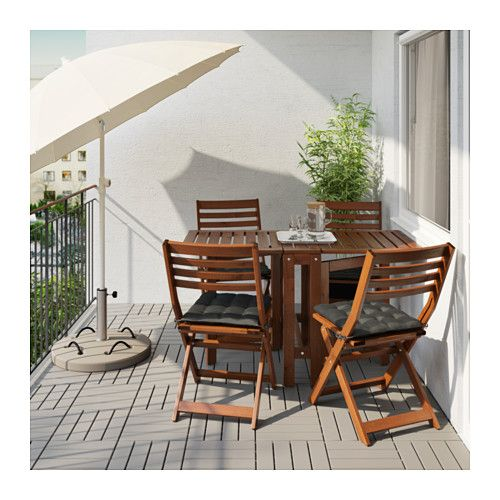 ÄPPLARÖ Tafel+4 klapstoelen, buiten - Äpplarö bruin gelazuurd/Hållö zwart - IKEA