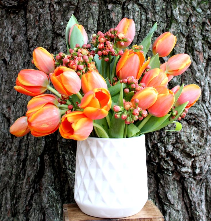 Tulipanes y kalanchoe en florero de cerámica.