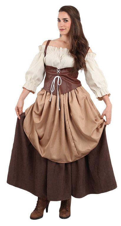 DisfracesMimo, disfraz de hortelana medieval mujer talla xl.Compra tu disfraz barato y representar a una campesina, mesonera.Es ideal para tus ferias y mercados medievales.