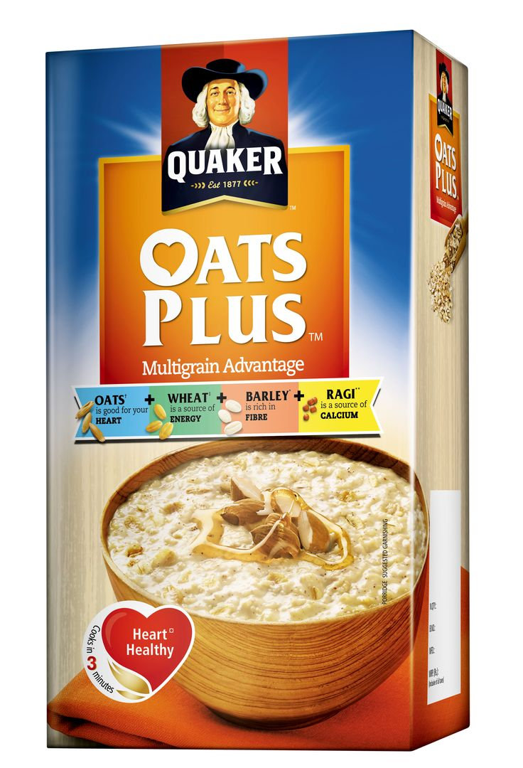 QUAKER OATS PLUS, comes with multigrain advantage and consists oats, wheat flakes, barley flakes, ragi flakes, sugar, salt, malt extract. Available on : Emami Frank Ross Pharmacy App