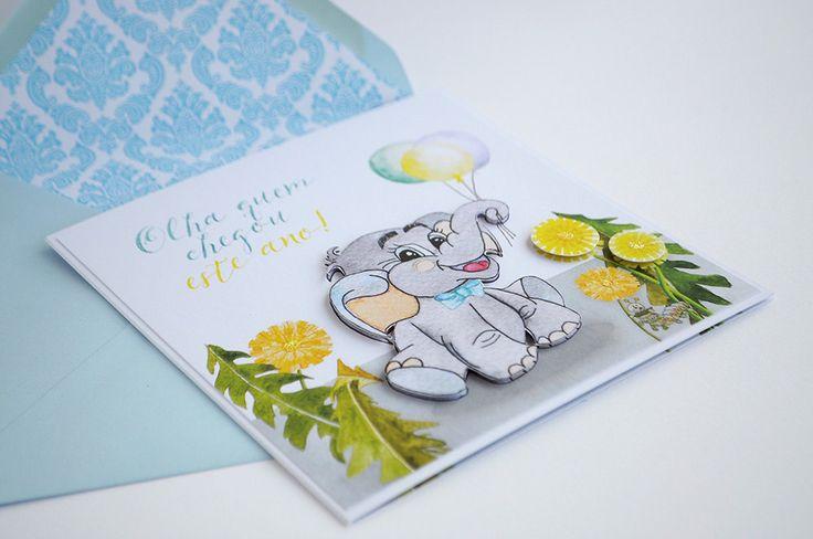 Illustrated Elephant and Dandelions Baby Announcement . Baptism invitation. Dedication invitation.  Elephant Birthday Invitation by InvitatiiCouture on Etsy