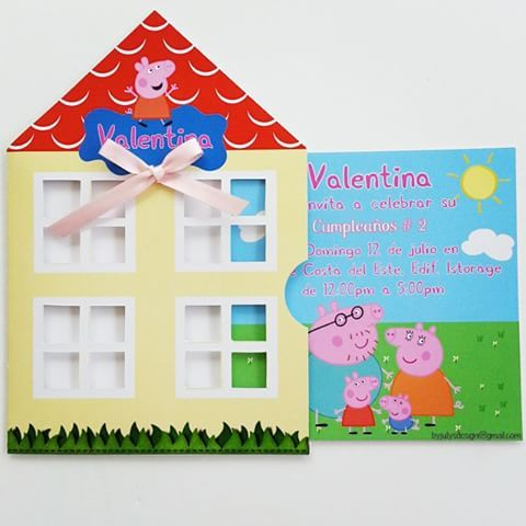 Invitación de Peppa Pig. #invitación #peppa #peppapig #peppalacerdita #peppahouse #house #casapeppa #papacerdito #mamacerdita #discoverykids #familia #detalles