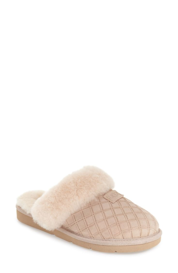 Free shipping and returns on UGG® Cozy Genuine Shearling Slipper (Women) at Nordstrom.com. A cozy sheepskin collar defines a comfy slipper cut from diamond-embossed suede and lined with UGGpure, a textile made from pure wool but crafted to feel and wear like genuine shearling.