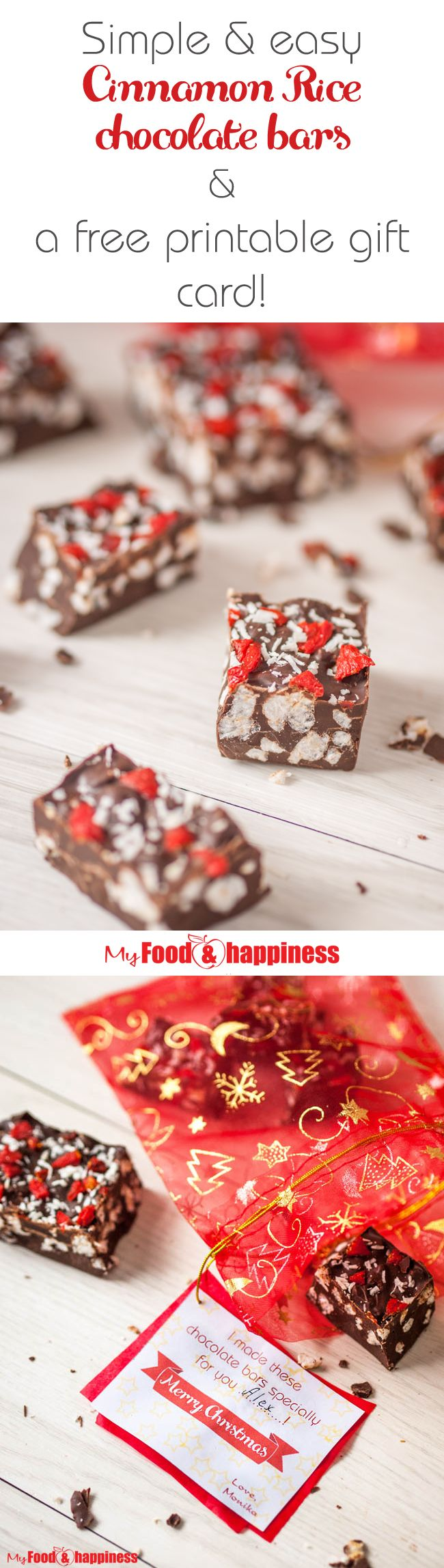 Easy and simple Cinnamon Rice chocolate bars with healthy toppings! This is a great idea for a personalised Christmas gift for your friends and family! The post includes a pretty gift card you can print and attach to your gifts as well! Merry Christmas!