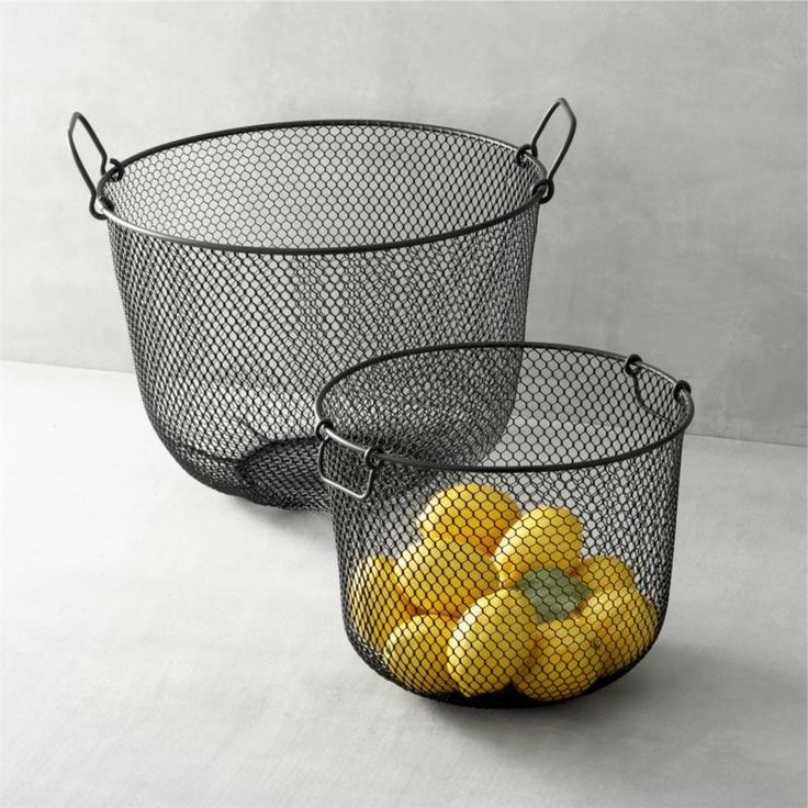 Black Mesh Bins with Handles    Crate and Barrel