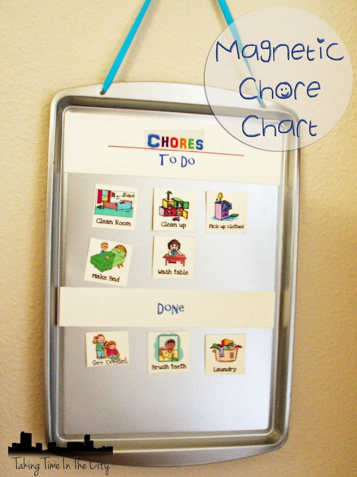 Magnetic Chore Chart. An easy magnetic chore chart that works great for a preschooler from Taking Time In The City #Preschool #Chore #Chart