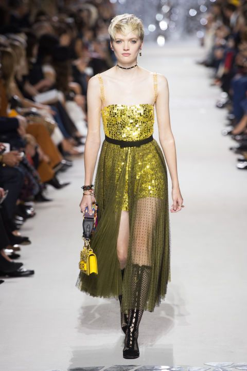 8d5fdaae Runway style review | Dior gave us feminism, streetwear, dinosaurs, and glitter  dresses all in one collection | Yellow glitter dress with sheer skirt over  ...