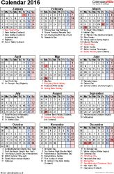 Template 16: Yearly calendar 2016 as PDF template, portrait orientation, 1 page, with UK bank holidays, observances, festivals and celebrations